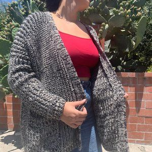 black and white knitted cardigan